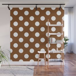 Russet - brown - White Polka Dots - Pois Pattern Wall Mural