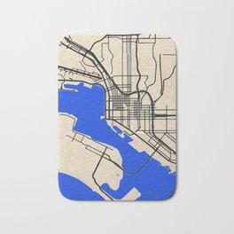San Diego Street map art in blue and beige tonality Bath Mat