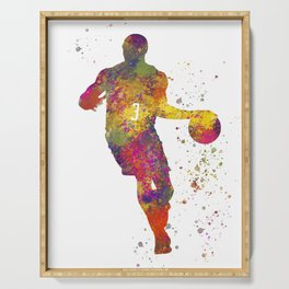 Basketball player 06 in watercolor Serving Tray
