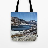 the mountains are calling Tote Bags featuring Mountains are calling by Adeela Abdul Razak
