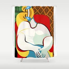 pablo picasso thee dream hommage parody emoji Shower Curtain