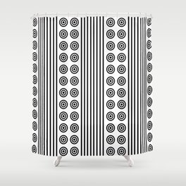 Geometric Dusky Black & White Vertical Stripes & Circles Shower Curtain