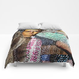 Man and Machine - Magazine Collage Painting Comforters