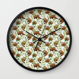 Red Panda Pattern Wall Clock