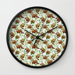 Red Panda Pattern Wall Clock