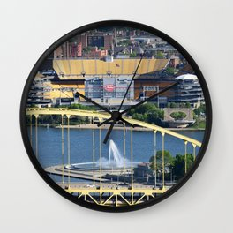 Heinz Field, Fort Pitt bridge and The Point in Pittsburgh Wall Clock