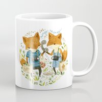 office Mugs featuring Fox Friends by Teagan White