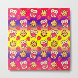 Cute funny sweet adorable happy Kawaii toast with raspberry jam and butter, chocolate chip cookies, red ripe summer strawberries cartoon fantasy yellow purple pattern design Metal Print