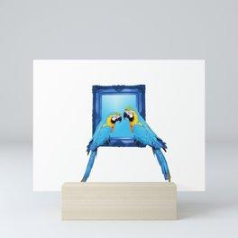 macaw Bird sitting on frame white Mini Art Print