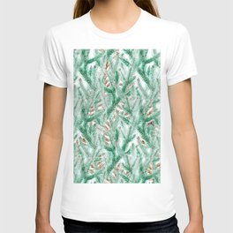 Green brown watercolor hand painted pine leaves floral T-shirt