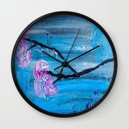 Contemporary Japanese Flower Branch on Blue Wall Clock