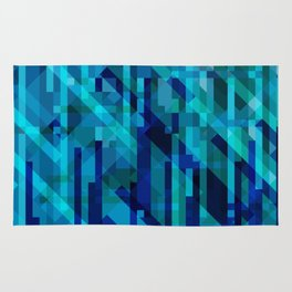 abstract composition in blues Rug