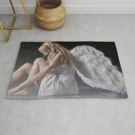 Angel From Montgomery - female angelic form portrait painting Rug