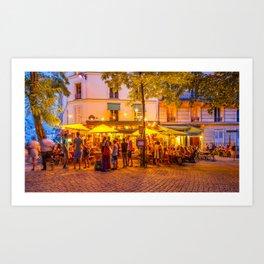 Buzzing restaurant in Montmartre Art Print