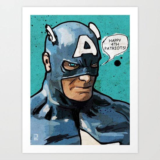 Captain America: 4th of July Art Print