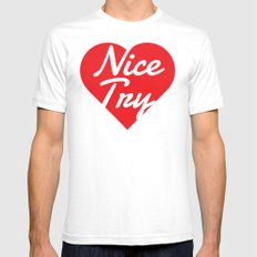 Nice Try MEDIUM Mens Fitted Tee White