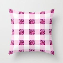 Pink Rose Check Pattern Throw Pillow