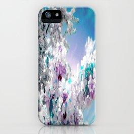 Flowers Lavender Turquoise Aqua Blue iPhone Case