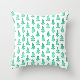 Christmas Trees With One Decorated Tree Throw Pillow