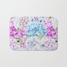 Multicolor Watercolor Hydrangea dream pattern Bath Mat