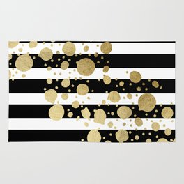 Faux Gold Paint Splatter on Black & White Stripes Rug