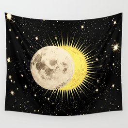 'Imminent Eclipse' Sun Moon & Stars Wall Tapestry
