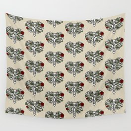 Heart Shaped Rib Cage Roses and Ivy Wall Tapestry