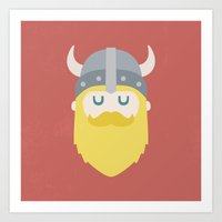 cyarin Art Prints featuring Viking by Beardy Graphics