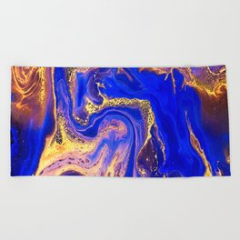 Marble gold and deep blue Beach Towel