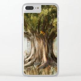 little fox on tree Clear iPhone Case