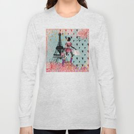 Fashion girl in Paris - Shopping at the EiffelTower Long Sleeve T-shirt