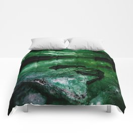Magical Mountain Lake Deep Green Comforters