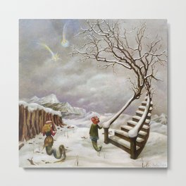 The Truth About Comets winter landscape surrealism painting by Dorothea Tanning Metal Print