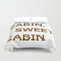 cabin Duvet Covers featuring Cabin, Sweet, Cabin by PhotoVista360