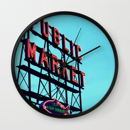 Pike Place Market Seattle Public Market Sign Wall Clock