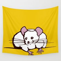fat Wall Tapestries featuring Fat mouse by Shane Williams