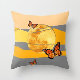 MOON & MONARCH BUTTERFLIES DESERT SKY ABSTRACT ART Throw Pillow