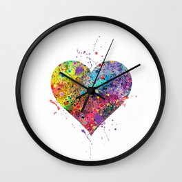 Heart Watercolor Art Love Gift Valentine's Day Gift Wedding Art Engagement Gift Wall Clock