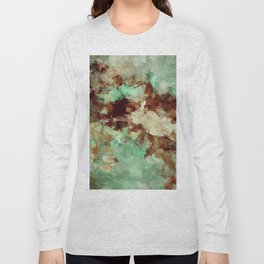 Brown Abstract Acrylic Painting Long Sleeve T-shirt