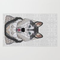husky Area & Throw Rugs featuring Happy Husky by ArtLovePassion