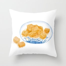 Watercolor Illustration of Chinese Snack - Peanut Crisp Candies   Throw Pillow