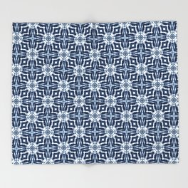 Watercolor Shibori Indigo Throw Blanket