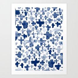 Navy Blue Crosses Art Print