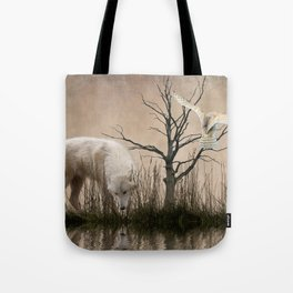 Woodland wolf reflected Tote Bag