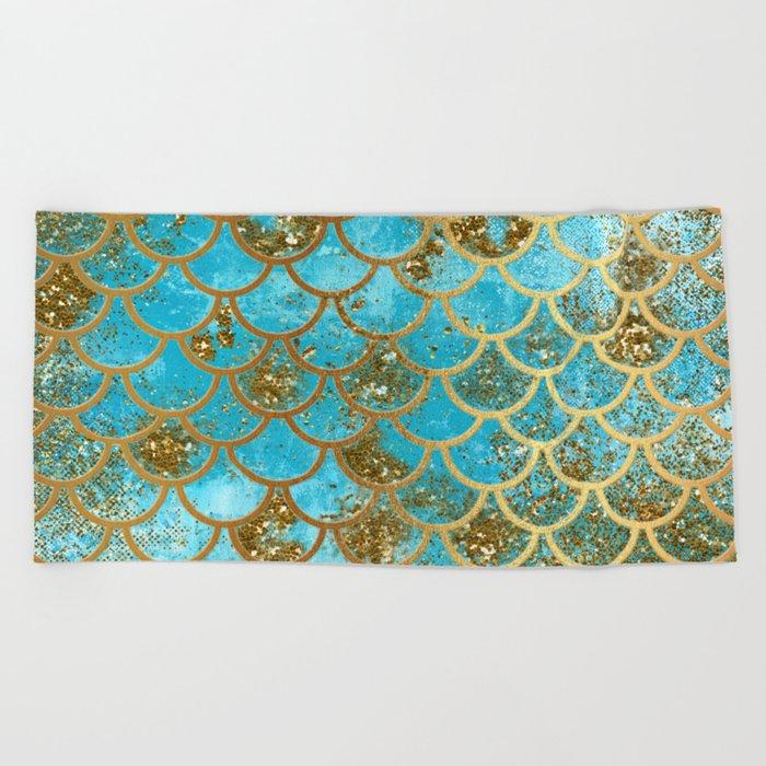 Aqua Teal and Gold Glitter MermaidScales - Mermaid Scales and Sea Foam Beach Towel