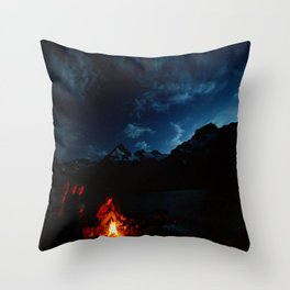 Backpacking Fire Throw Pillow