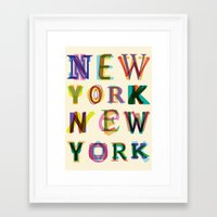 new york Framed Art Prints featuring New York New York by Fimbis