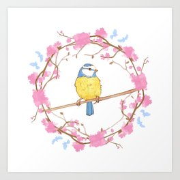 Bird and pink flowers Art Print