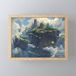 Tyler Edlin digital art artwork Skies of Arcadia video game art flying ship clouds floating island fantasy city Framed Mini Art Print
