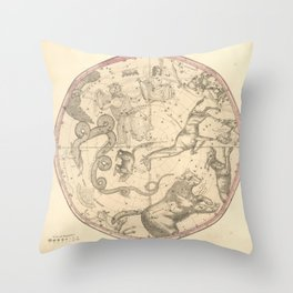 The Northern Constellations for Each Month of the Year (1856) Throw Pillow
